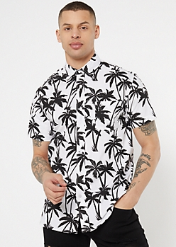 White Palm Tree Print Button Down Top