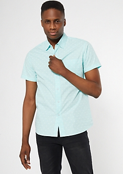 Mint Dot Print Short Sleeve Shirt