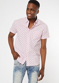 Pink Arrow Print Short Sleeve Shirt