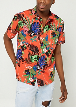 Coral MTV Palm Print Button Down Shirt