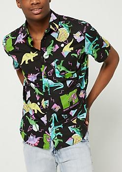 MTV Dinosaur Print Button Down Shirt