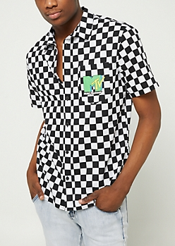 Checkered Print MTV Button Down Shirt