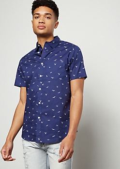 Navy Seagull Print Short Sleeve Button Down Shirt