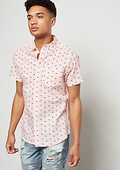 Pink Geo Print Short Sleeve Button Down Shirt