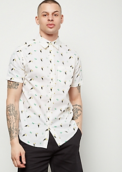 Yellow Toucan Print Short Sleeve Button Down Shirt