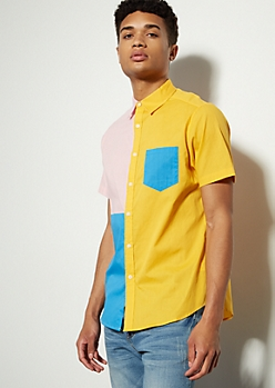 Yellow Split Colorblock Button Down Shirt