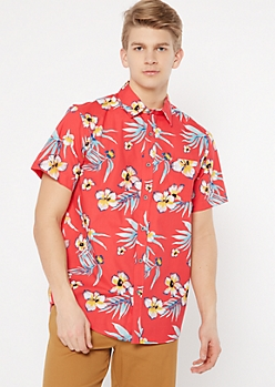 Red Tropical Floral Print Button Down Shirt