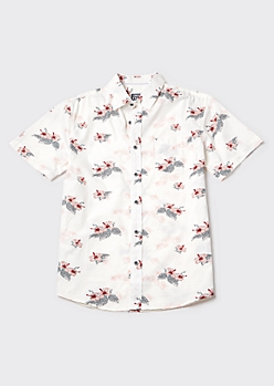 White Hibiscus Print Button Down Shirt