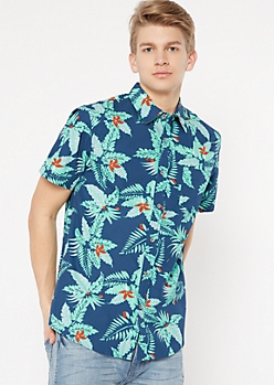 Navy Tropical Floral Print Button Down Shirt