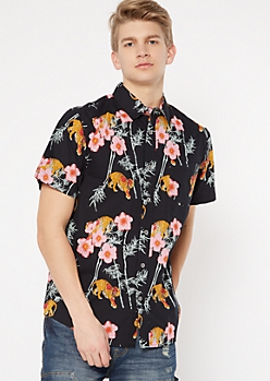 Black Tiger Cherry Blossom Print Button Down Shirt