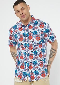 White Tropical Print Button Down Shirt