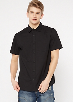 Black Short Sleeve Collared Button Down Shirt