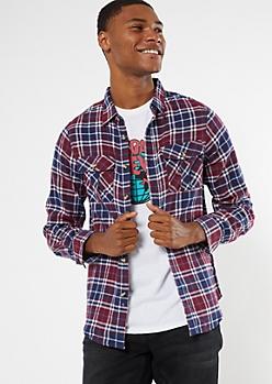 Burgundy Plaid Flannel Shirt