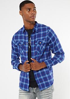 Royal Blue Plaid Flannel Shirt