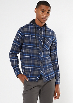 Blue Plaid Hooded Flannel Shirt