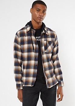 Navy Plaid Hooded Flannel Shirt