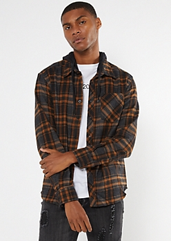 Charcoal Plaid Hooded Flannel Shirt