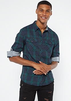 Dark Green Plaid Roll Tab Flannel Shirt