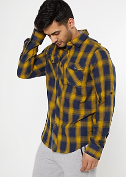 Mustard Plaid Flannel Shirt