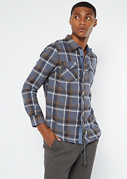 Navy Gray Plaid Roll Tab Flannel Shirt