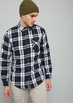 Navy Plaid Print Flannel Button Down Shirt