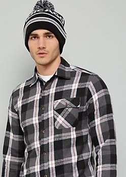 Black Plaid Print Flannel Button Down Shirt