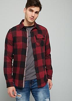 Burgundy Plaid Print Flannel Button Down Shirt