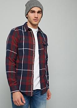 Burgundy Mixed Plaid Print Flannel Button Down Shirt