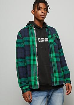 Green Mixed Plaid Print Flannel Button Down Shirt
