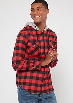 Red Plaid Print Hooded Flannel Shirt