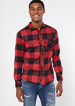 Red Plaid Print Flannel Shirt