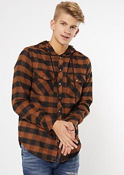 Brown Plaid Print Hooded Flannel Shirt