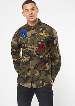 Parish Nation Camo Print Utility Patch Shirt