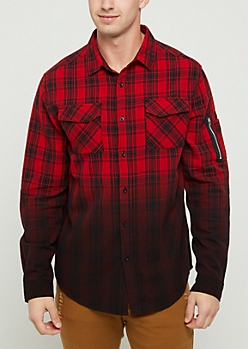 Red Ombre Plaid Print Flannel Shirt