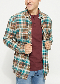 Brown Flannel Long Sleeve Button Down Shirt