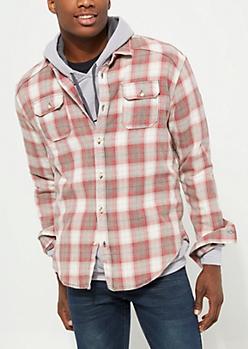 Washed Dark Red Plaid Print Button Down Flannel Shirt