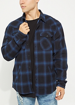 Navy Faded Plaid Lined Flannel Shirt