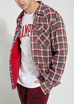 Red Faded Plaid Print Lined Flannel Shirt