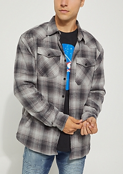 Gray Faded Plaid Print Lined Flannel Shirt
