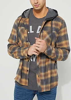 Charcoal Gray Flannel Hooded Button Down