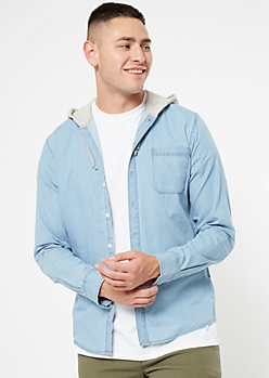 Light Blue Hooded Chambray Shirt