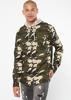 Camo Print  Hooded Button Down Shirt