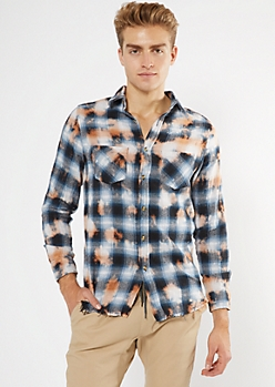 Navy Plaid Bleach Wash Flannel Top