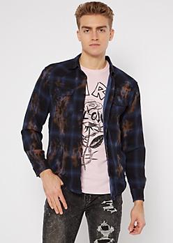 Navy Plaid Bleach Wash Flannel Top