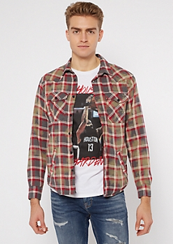 Blue Plaid Bleach Wash Flannel Top