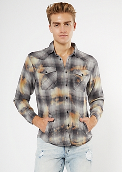 Gray Plaid Bleach Wash Flannel Top