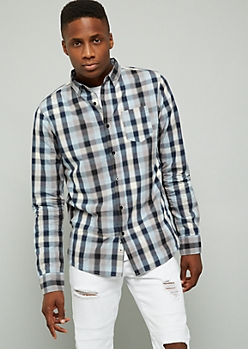 Blue Plaid Print Button Down Chest Pocket Shirt