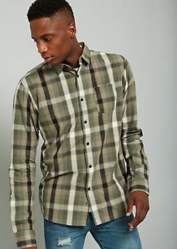 Green Plaid Print Button Down Chest Pocket Shirt