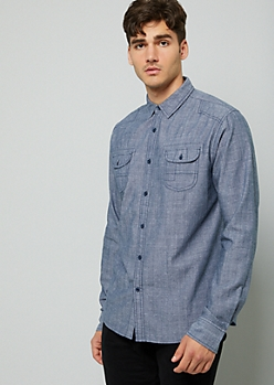 Navy Chambray Button Down Double Pocket Shirt