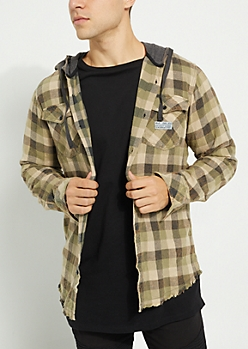 Olive Frayed Buffalo Plaid Flannel Hoodie
